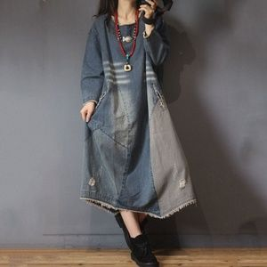 Round Neck Long Sleeve Patchwork Denim Ripped Dres